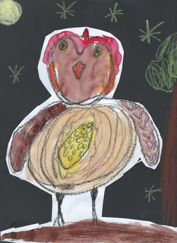 Zoe's art -owl - kindergarten